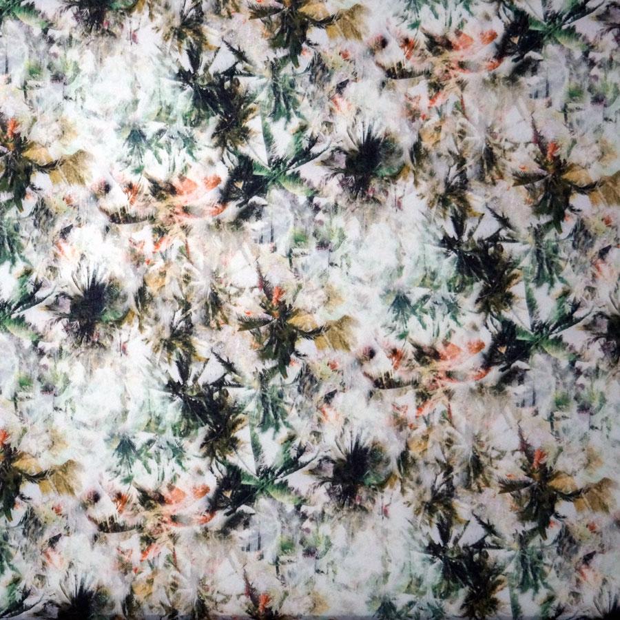 Mussola cotone leggero – felci verde bruciato