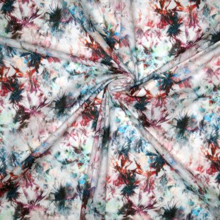 Tessuto cotone leggero felci rosso fuxia acqua