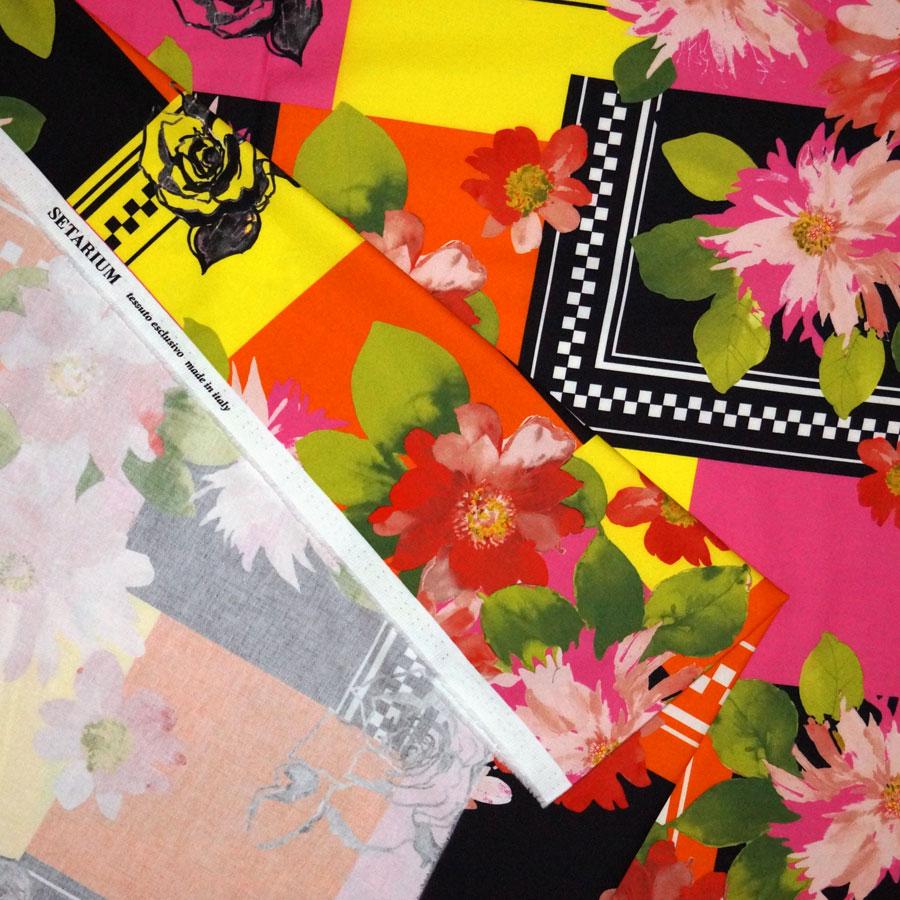 Tessuto rasatello di cotone stretch stampato geometrico floreale