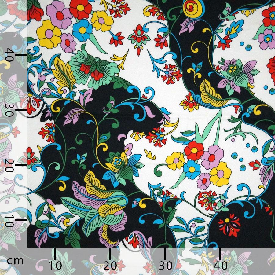 Disegni Geometrici Bianco E Nero rasatello di cotone stretch - floreale su bianco e nero