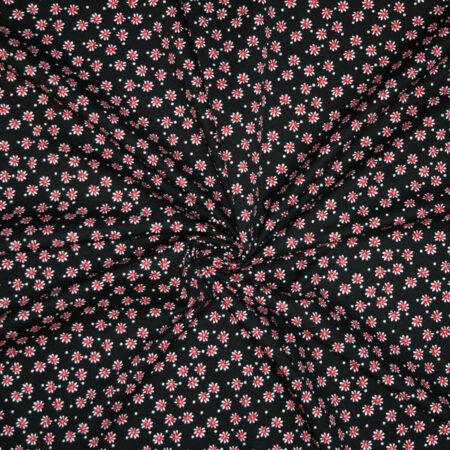Tessuto cotone stretch imprimè fiorellini rossi e pois