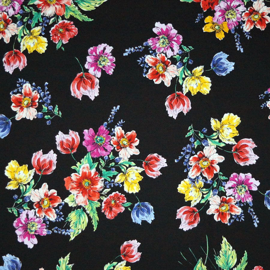 Cotone imprimè stretch – floreale fondo nero