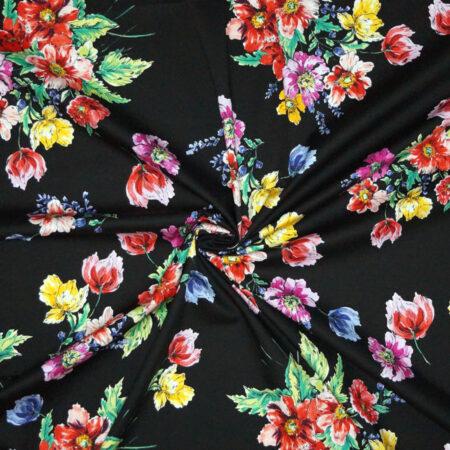 Tessuto cotone stretch disegno floreale su fondo nero