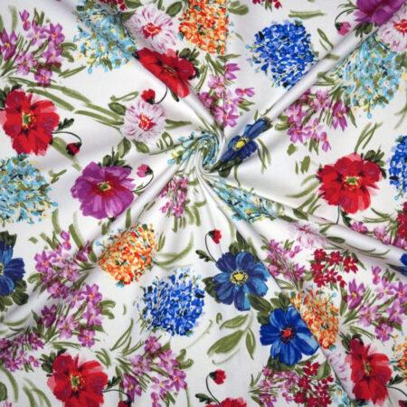 Tessuto cotone stretch disegno floreale pennellate multicolor