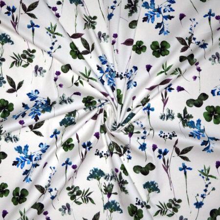 Tessuto cotone stretch disegno stencil fiori e quadrifogli