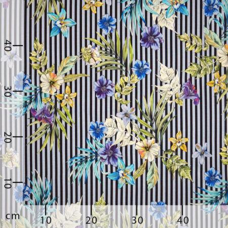 Tessuto jersey viscosa floreale righe blu nero