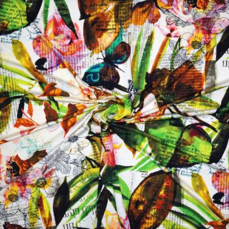 Tessuto jersey viscosa lettere fiori e farfalle verde marrone rosa