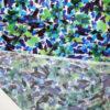Tessuto jersey viscosa lucida pennellate floreale colori freddi
