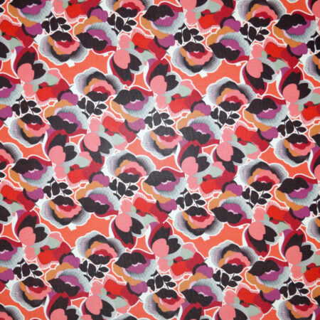 Tessuto jersey viscosa lucida floreale toni rosso
