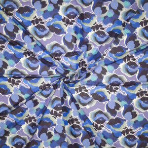 Jersey viscosa lucida – floreale toni blu