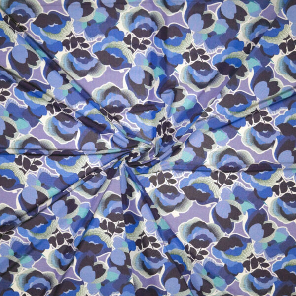 Tessuto jersey viscosa lucida floreale toni blu