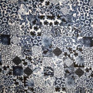 Jersey viscosa lucida – patchwork blu – TAGLIO 1,75 MT