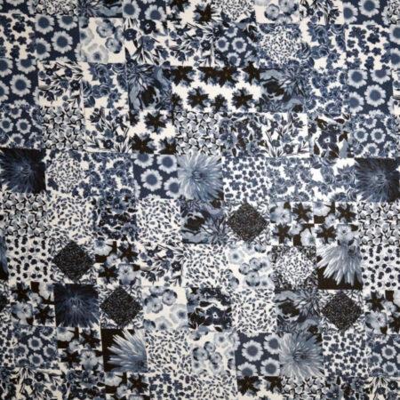 Tessuto jersey viscosa lucida patchwork blu