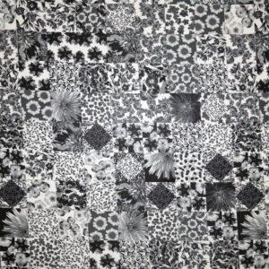 Jersey viscosa lucida – patchwork nero