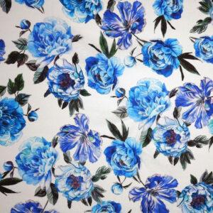 Tela lino – fiori azzurri