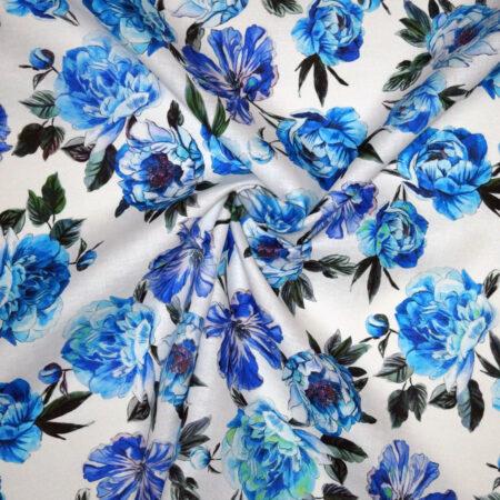 Tessuto tela lino fiori blu azzurro