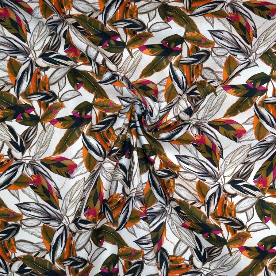 Tessuto tela lino foglie marrone e arancio