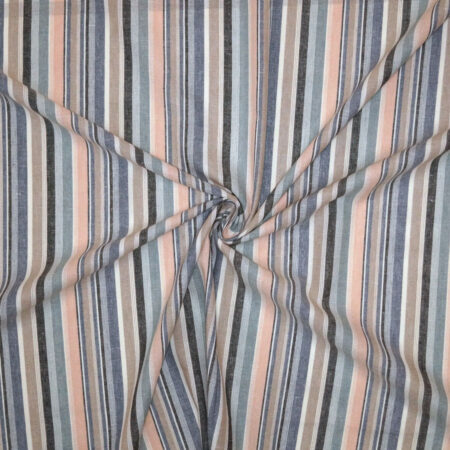 Tessuto viscosa lino rigato tenue rosa carta zucchero blu