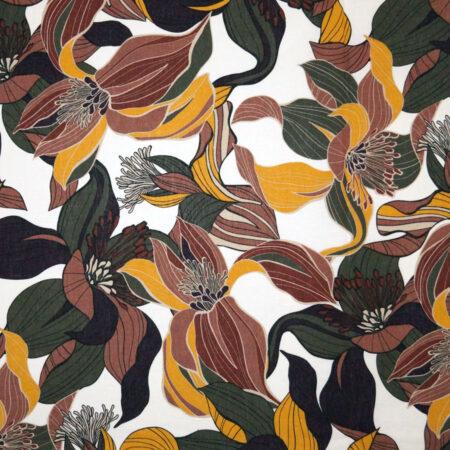 Tessuto lino cotone foglie floreali verde giallo marrone