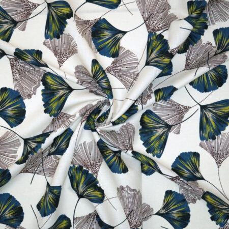 Tessuto lino cotone soffioni astratti blu giallo