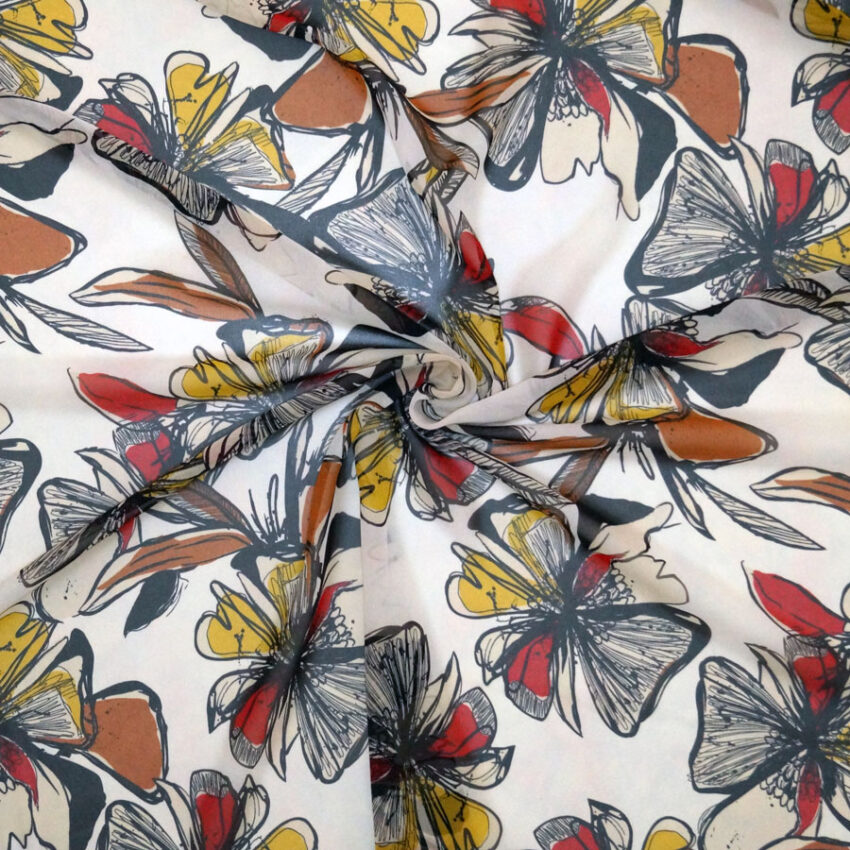 Tessuto chiffon stampato floreale stilizzato rosso e giallo