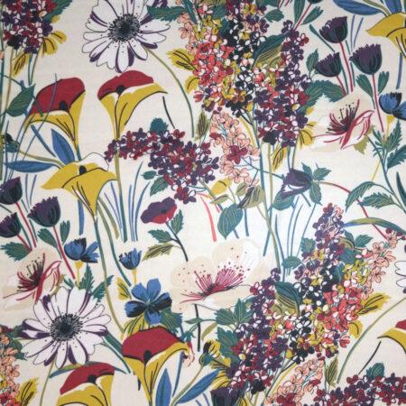 Tessuto chiffon stampato floreale multicolor