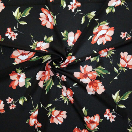 Tessuto crepe leggera fiori rossi