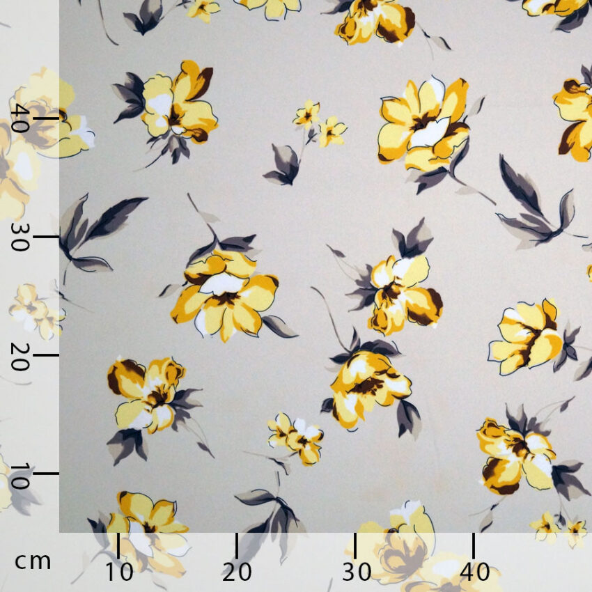Tessuto crepe leggera fiori gialli