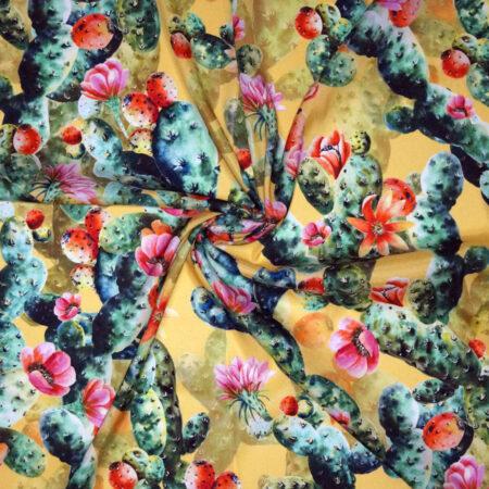 Tessuto envers satin seta disegno cactus fondo giallo