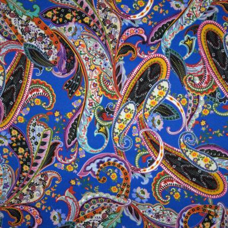 Tessuto cotone stretch stampato disegno cachemire paisley
