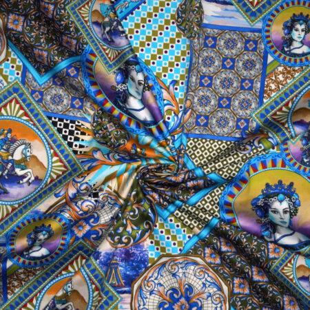 Tessuto cotone stretch stampato disegno principesse cavalieri e maioliche