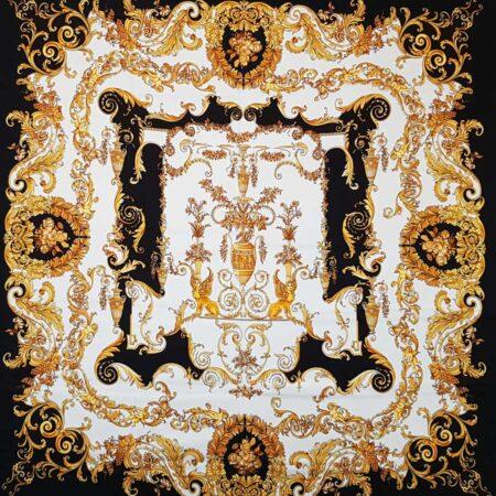 Tessuto raso di seta stretch pannello barocco oro bianco nero