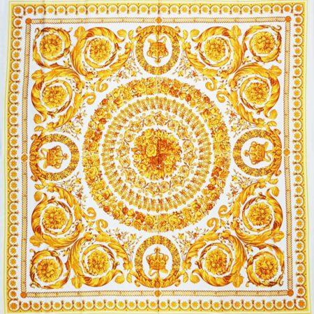 Tessuto raso di seta stretch pannello barocco oro bianco