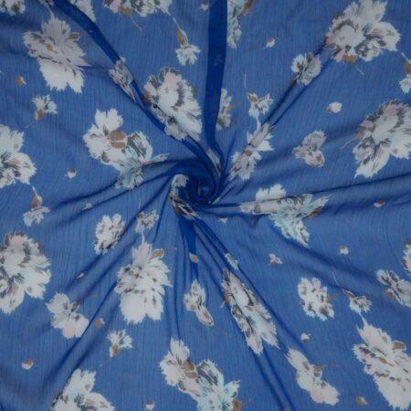 Tessuto creponne floreale blu