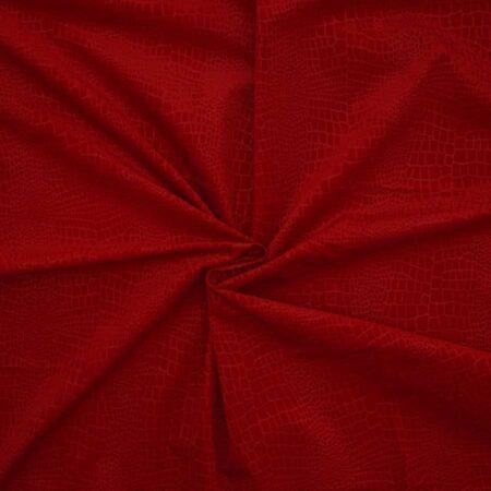 Tessuto cotone floc animalier rosso