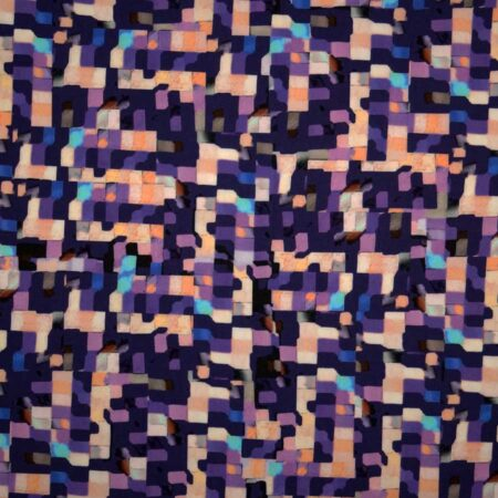 Tessuto cotone stampato disegno mosaico rosa viola