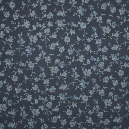 Tessuto cotone leggero fiorellini blu