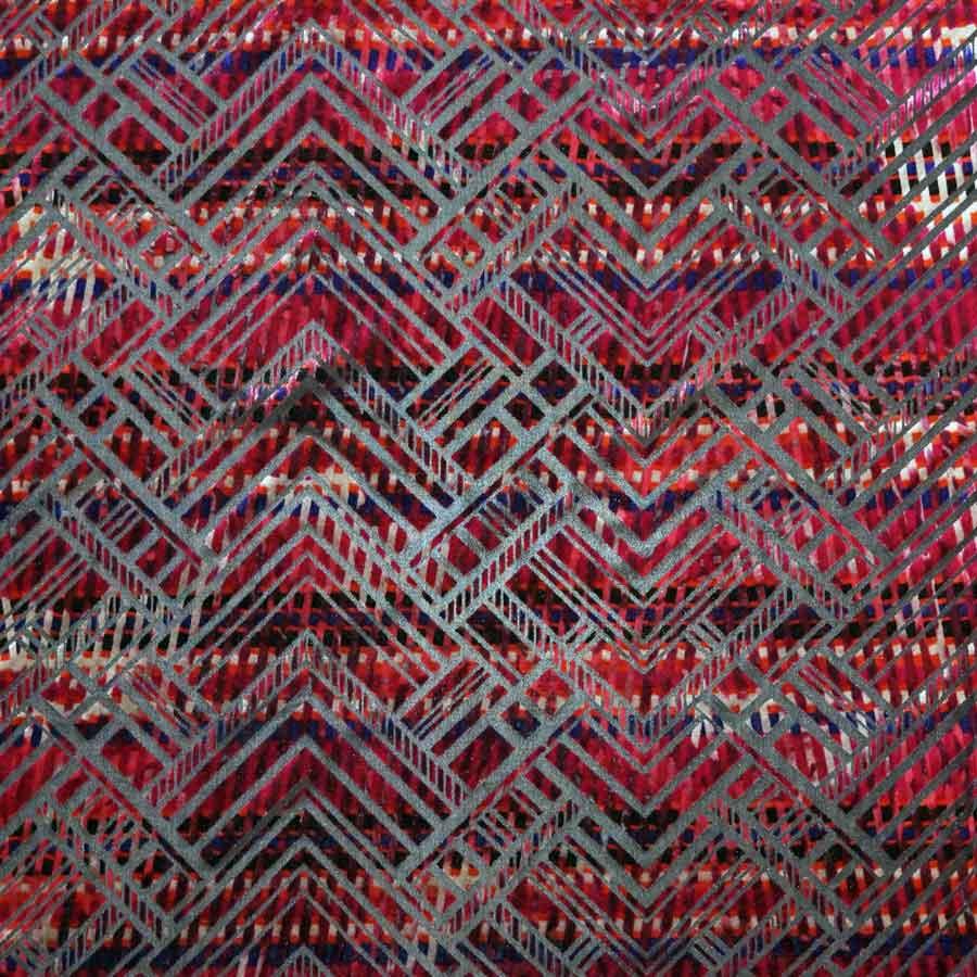 Velvet devorè elastico toni rosso viola