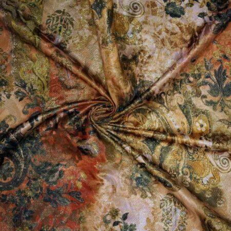 Jacquard lamè oro stampato - disegno floreale toni beige verde rosso