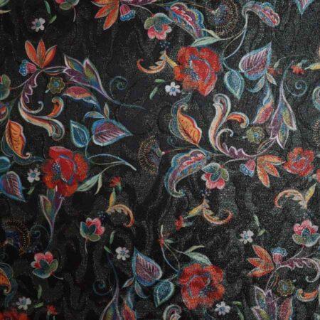Jacquard lamè oro stampato - disegno floreale multicolor su fondo nero