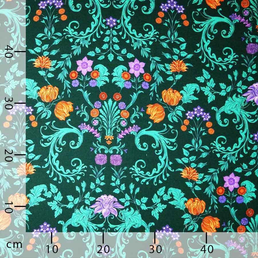 Raso lana seta floreale verde