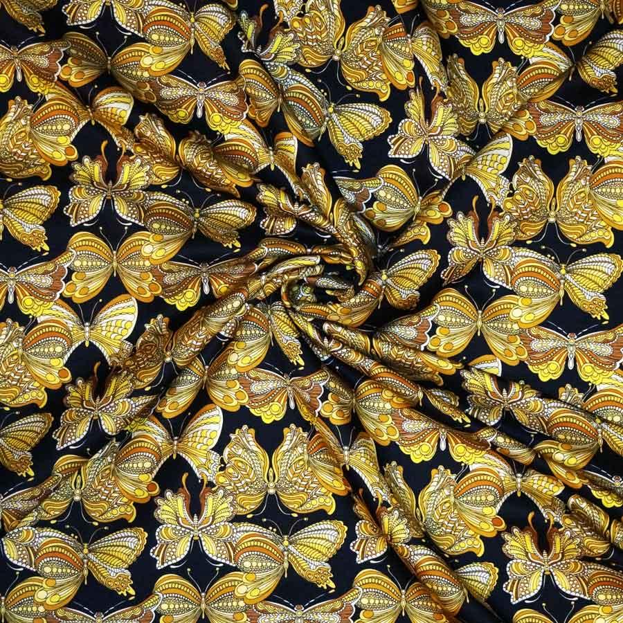 Raso lana seta imprimè – farfalle oro su fondo nero
