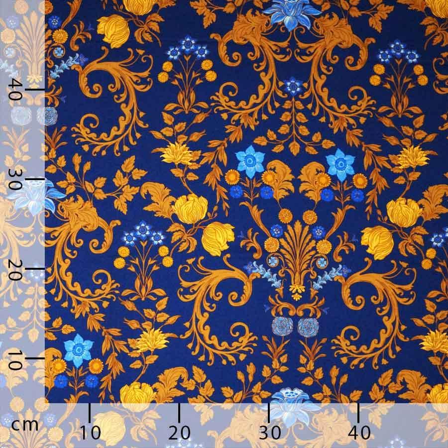Raso lana seta floreale blu