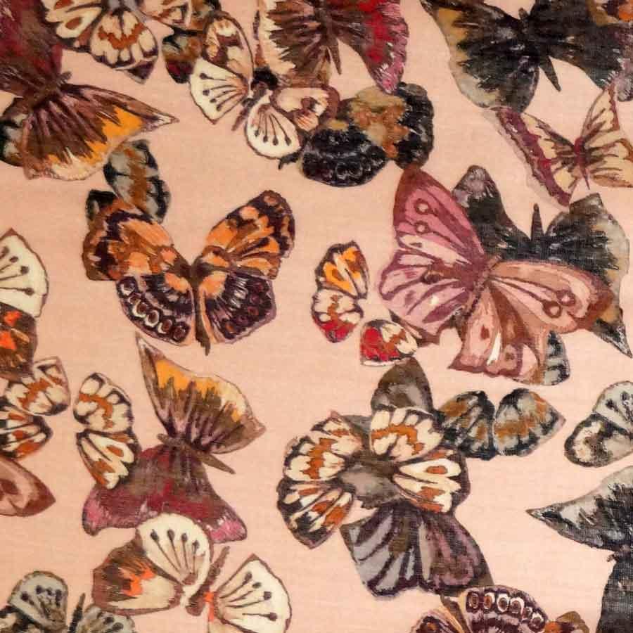 Lana seta stampata – farfalle su fondo rosa