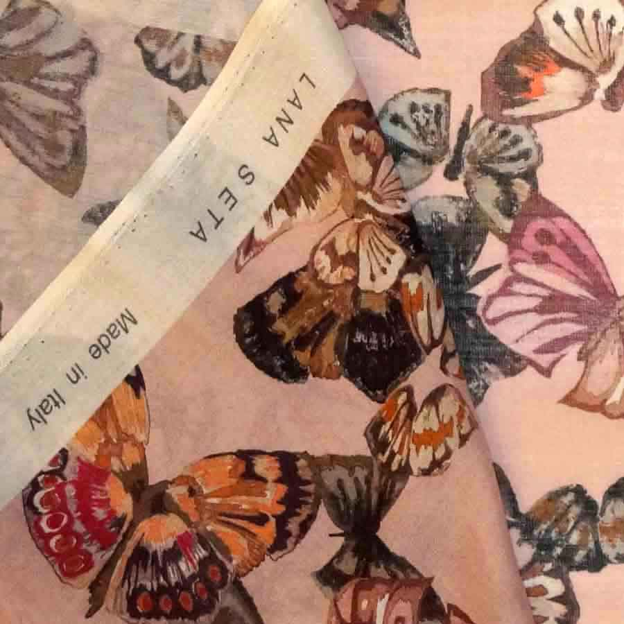 Lana seta stampata farfalle