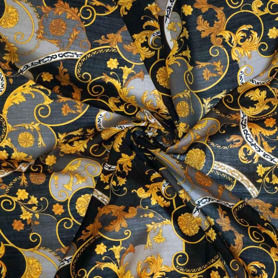 Lana seta stampata – barocco su fondo scuro
