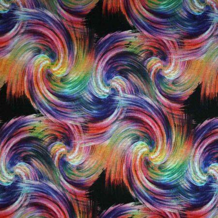 Jersey stampato disegno astratto multicolor