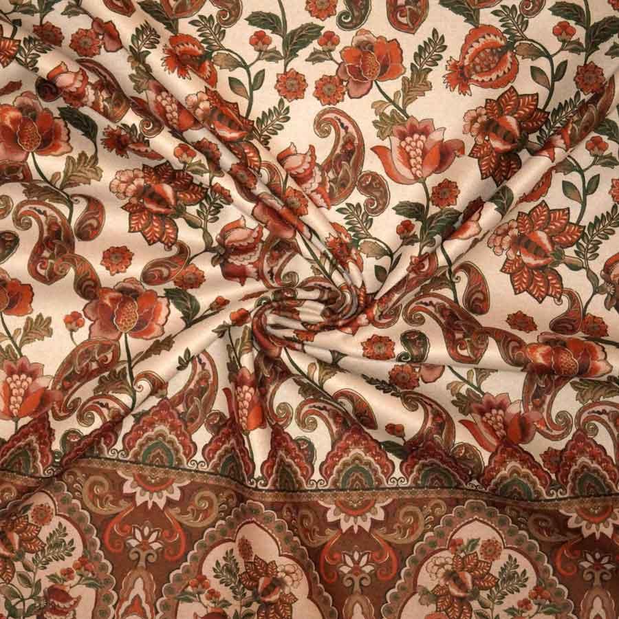 Tessuto imprimè – pannello 145 cm – Floreale fondo marrone chiaro