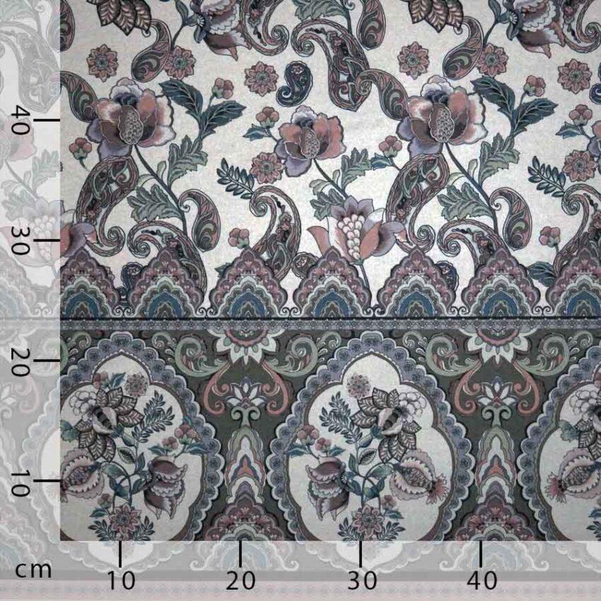 Tessuto imprimè fiori grigio