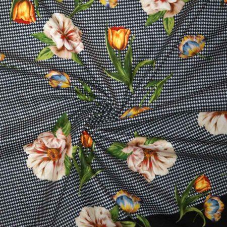 Tessuto imprimè fiori pied de poule